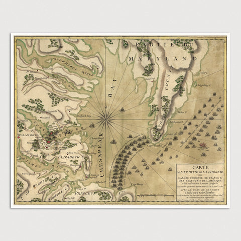 Battle of Yorktown Antique Map Print (c1781)
