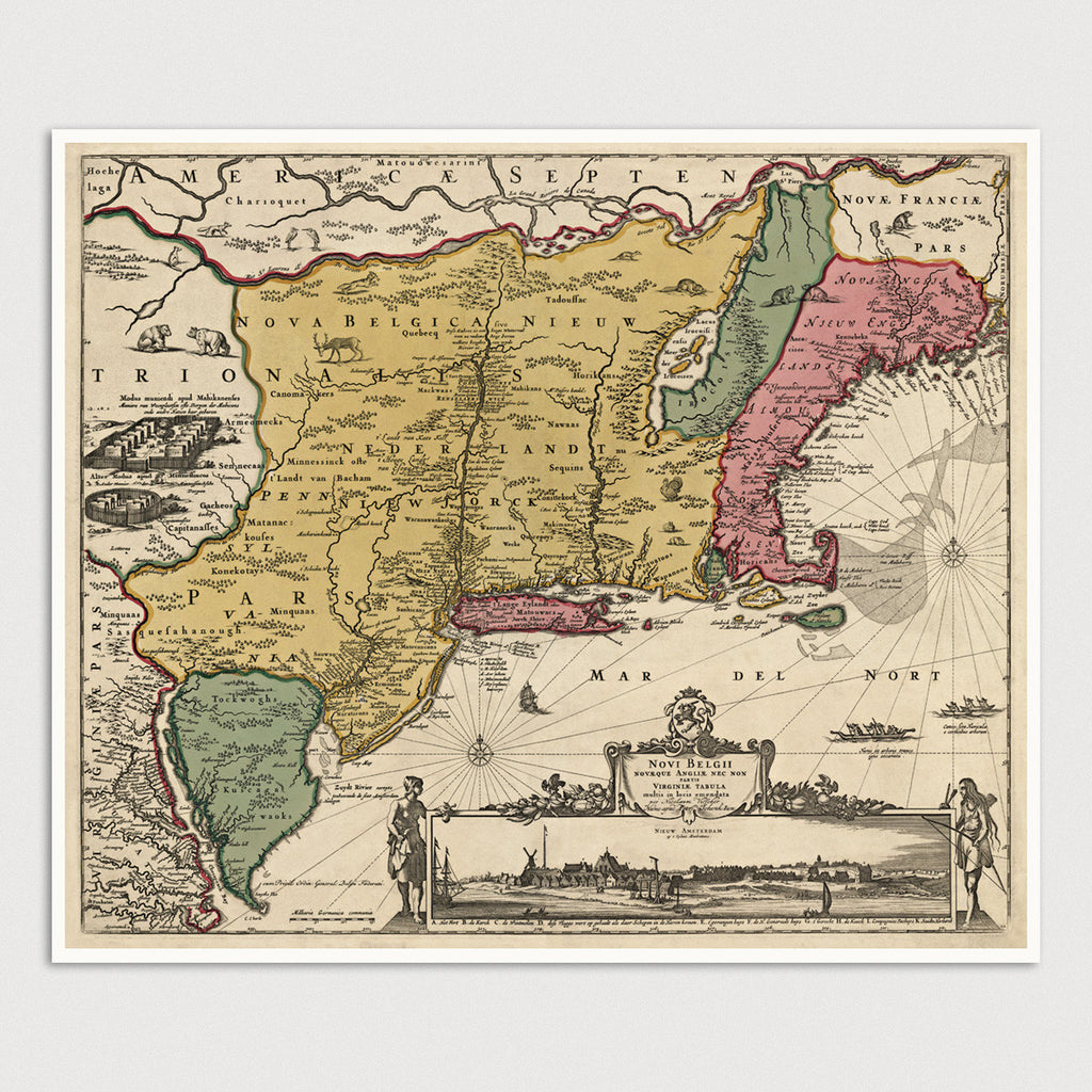 Colonial America Antique Map Print (1685)
