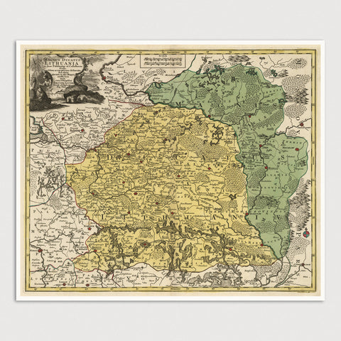 Belarus, Lithuania, and Poland Antique Map Print (c1770)