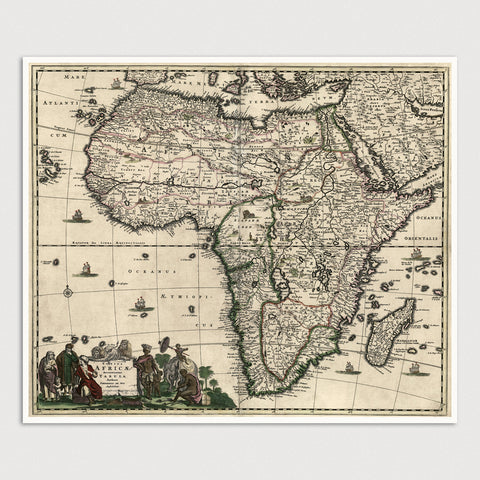 Africa Antique Map Print (c1688)