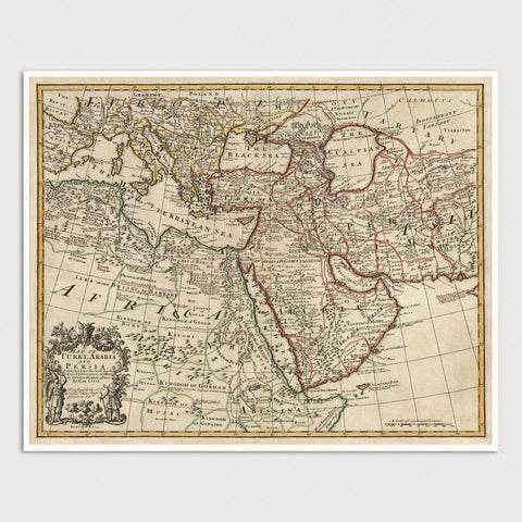 Middle East Antique Map Print (1721)