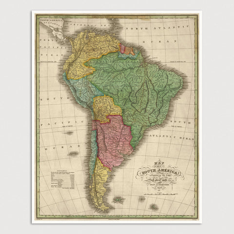 South America Antique Map Print (1826)