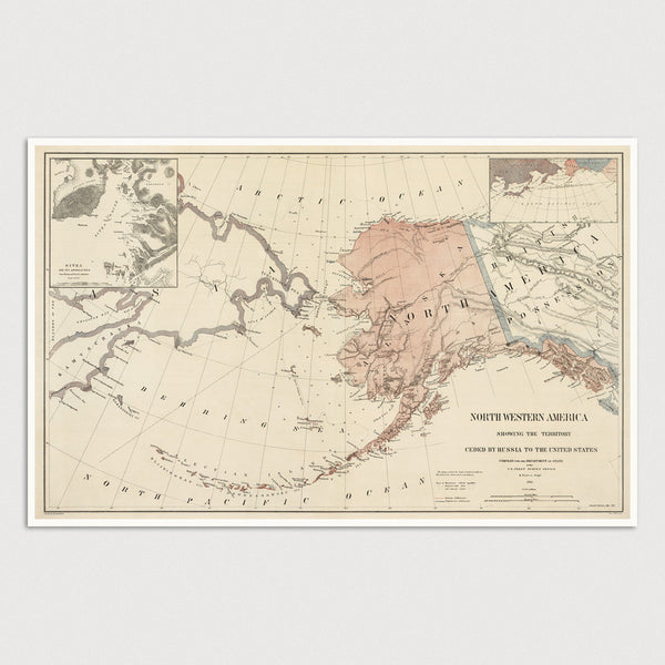 Alaska Antique Map Print (1867)