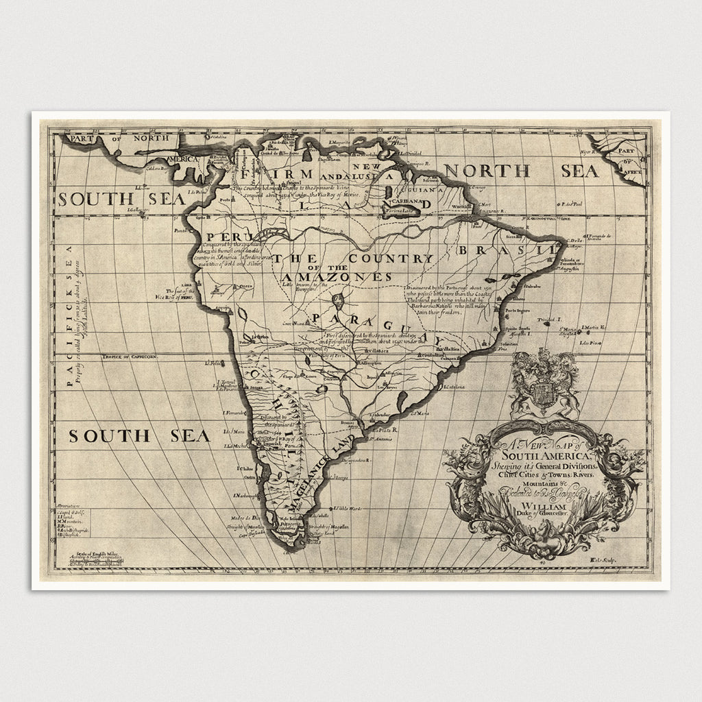 South America Antique Map Print (c1700)