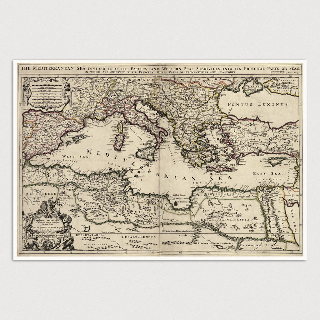 Mediterranean Antique Map Print (1685)