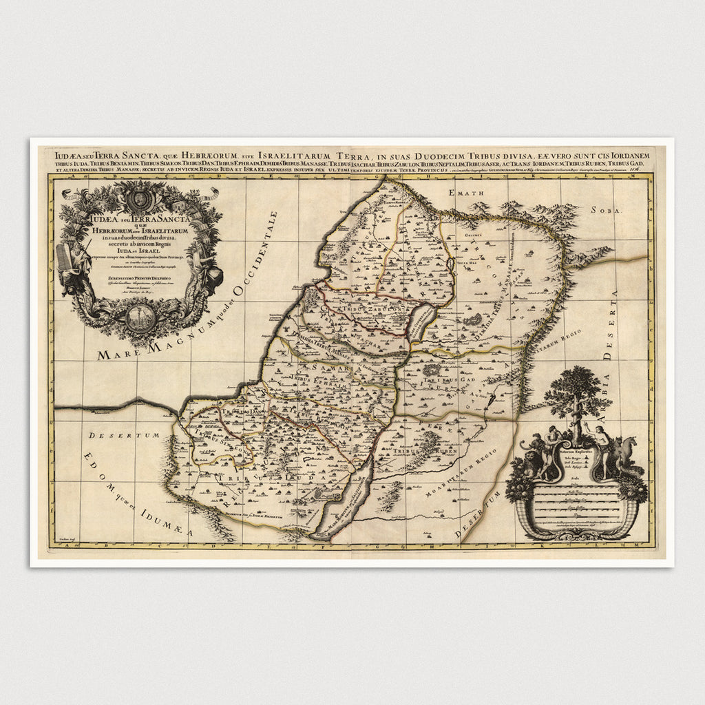 Holy Land Antique Map Print (1696)
