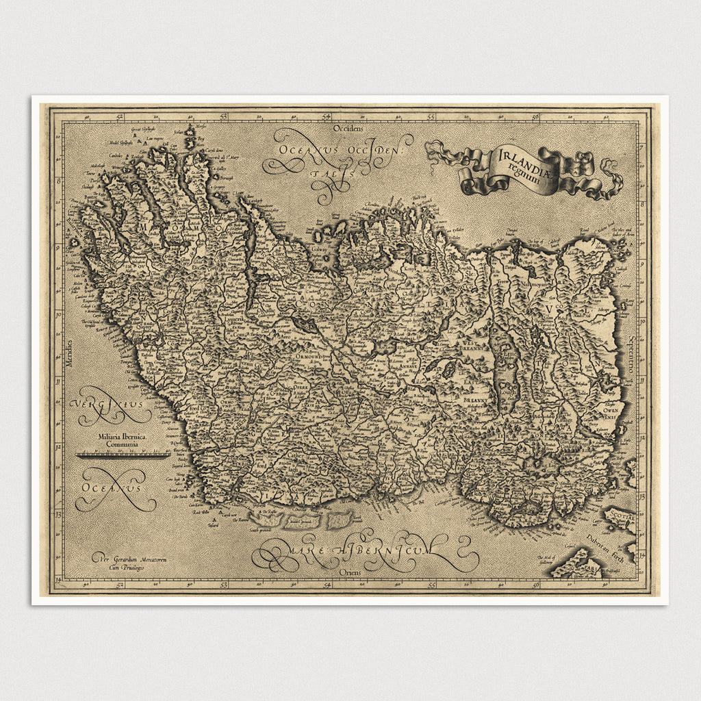Ireland Antique Map Print (c1600)