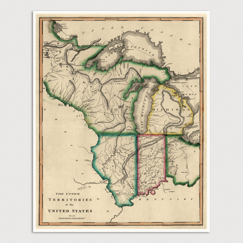 Midwest Us Antique Map Art Print C1810 Blue Monocle - Map-of-the-midwest-us