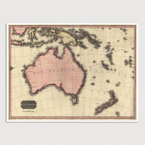Australia and Oceania Antique Map Print (1818)