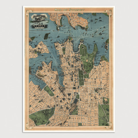 Sydney Antique Map Print (1922)