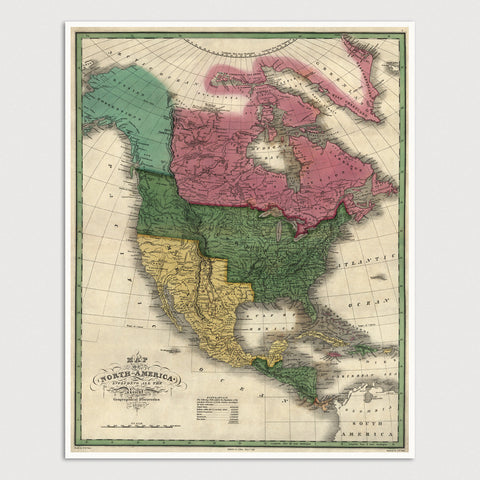 North America Antique Map Print (1826)