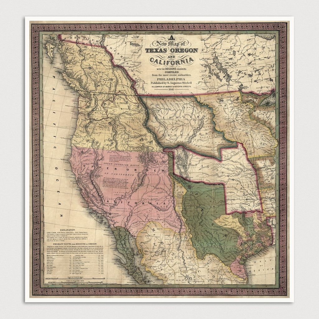 Western US Antique Map Print (1846)