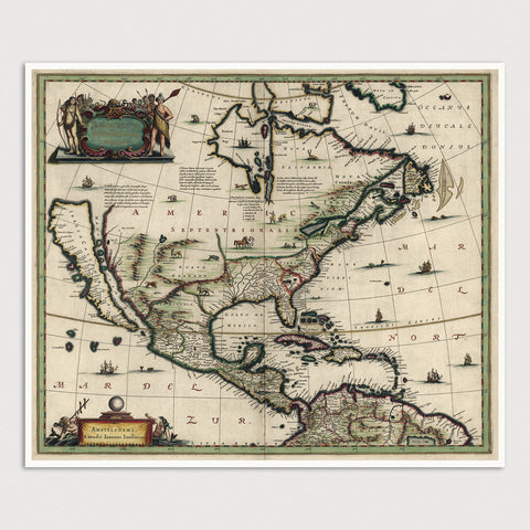 North America Antique Map Print (c1652)
