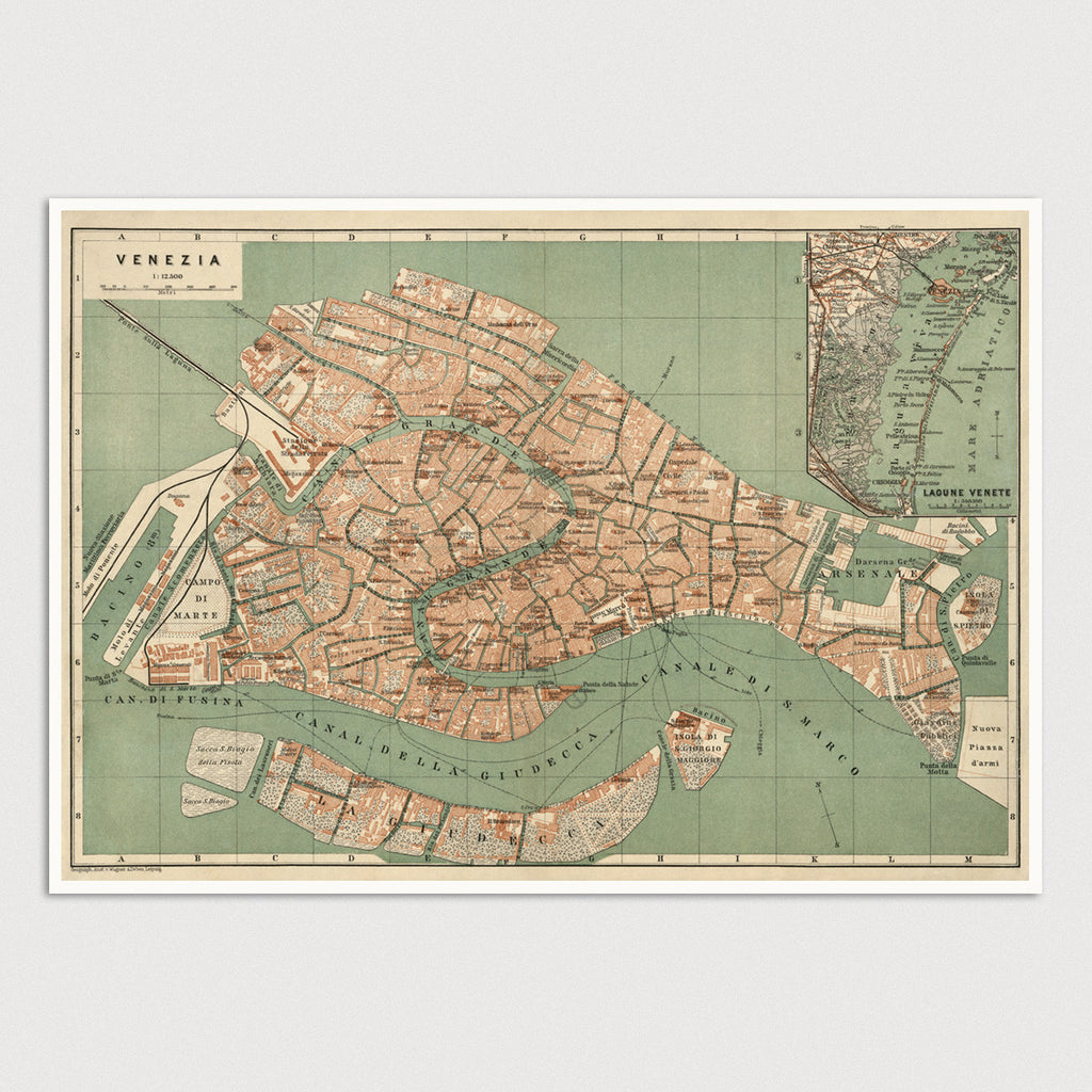 Venice Antique Map Print (c1886)