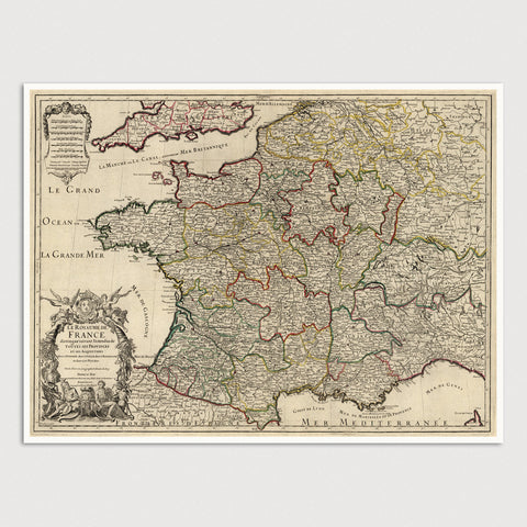 France Antique Map Print (1724)