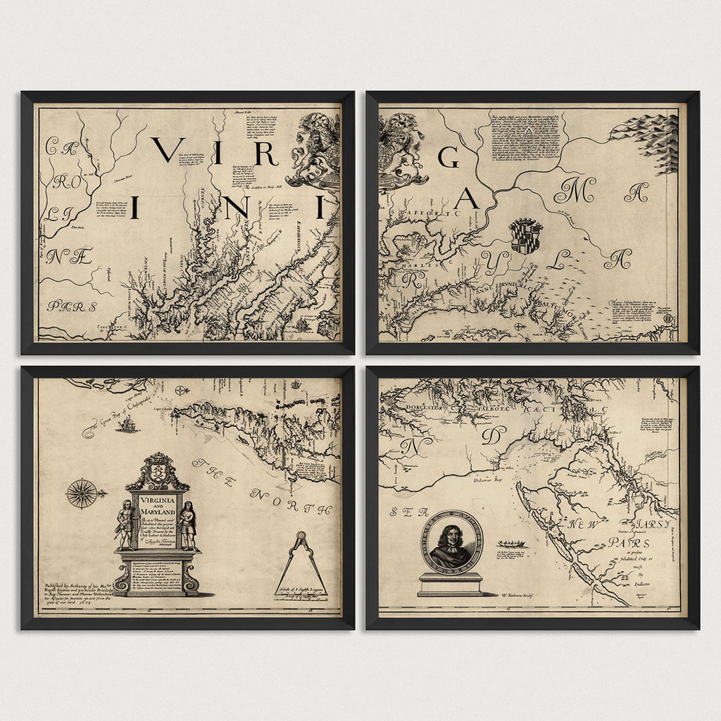 Maryland and Virginia Antique Map Print Set (1673)