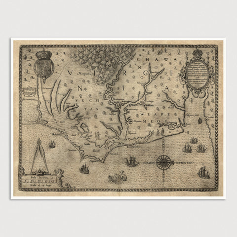 North Carolina Antique Map Print (1590)