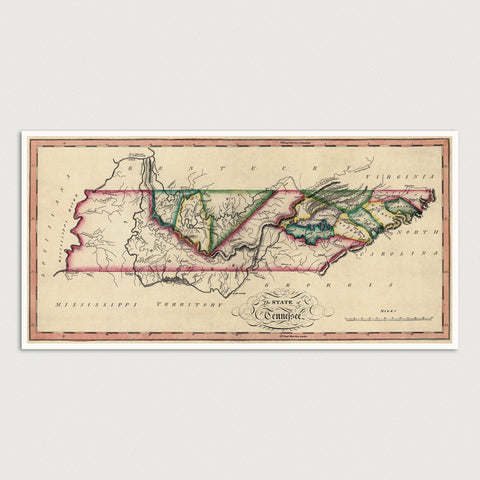 Tennessee Antique Map Print (c1810)