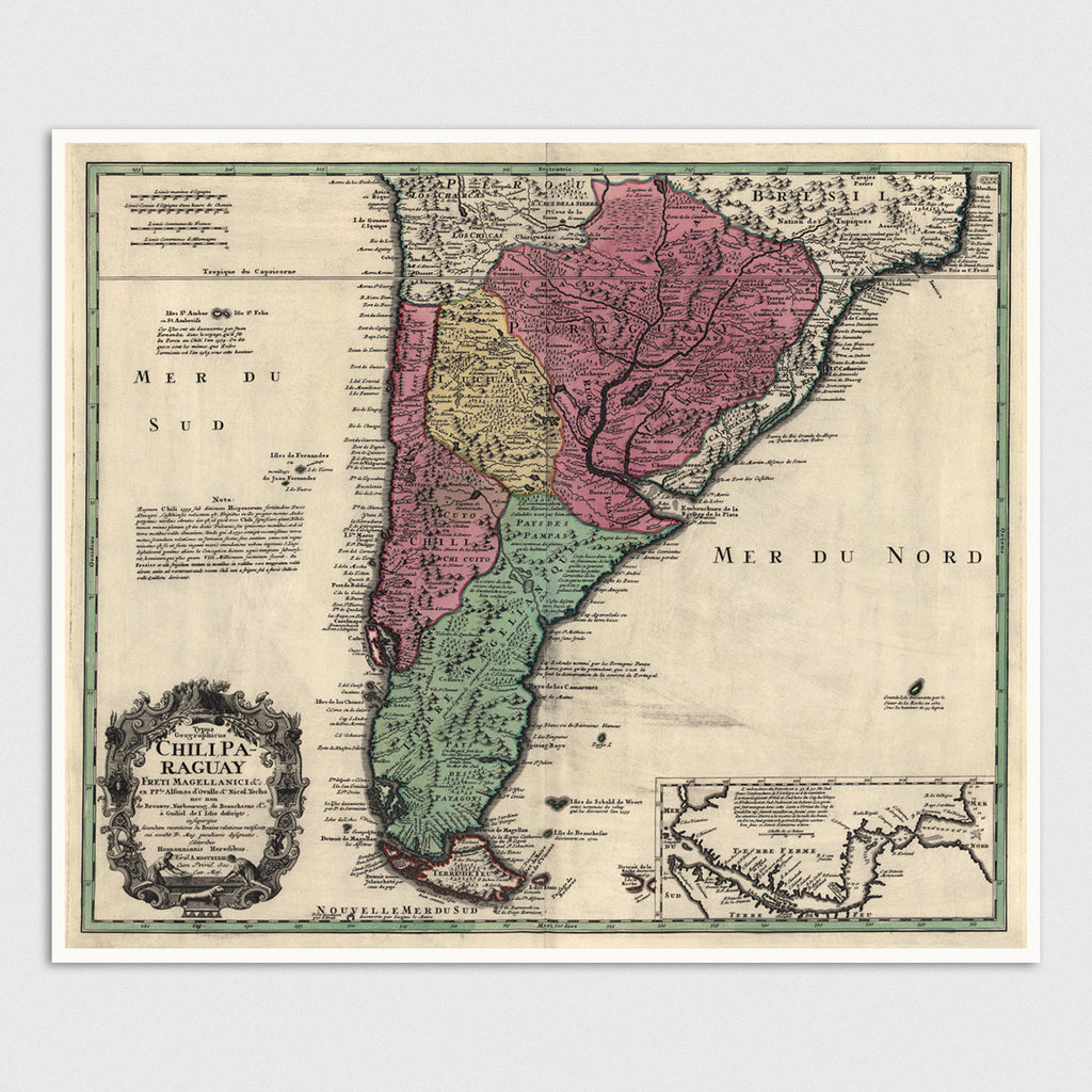 South America Antique Map Print (1733)