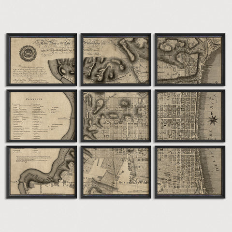 Philadelphia Antique Map Print Set (1797)
