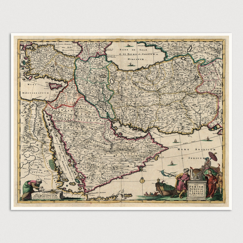 Middle East Antique Map Print (c1666)