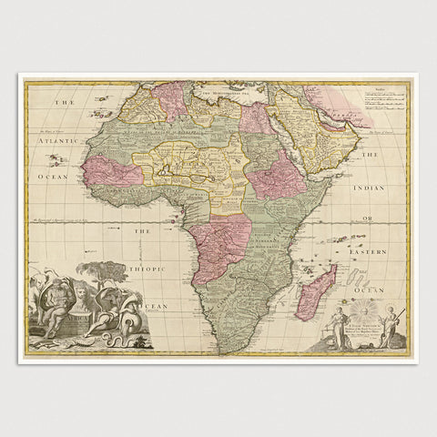 Africa Antique Map Print (c1725)