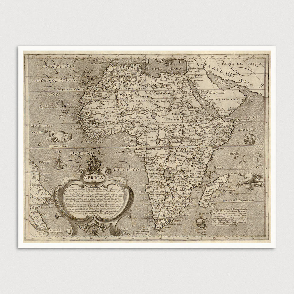 Africa Antique Map Print (c1600)