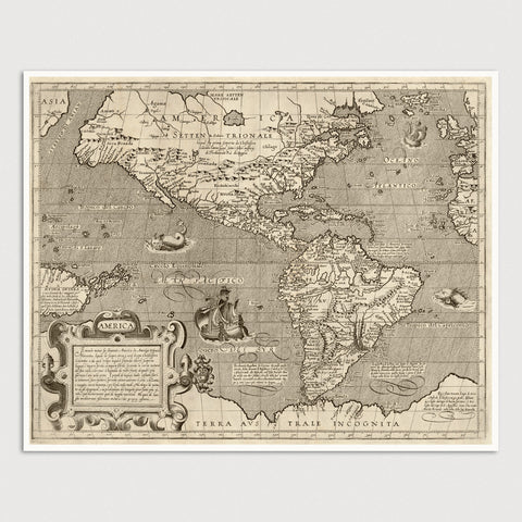 Western Hemisphere Antique Map Print (c1600)