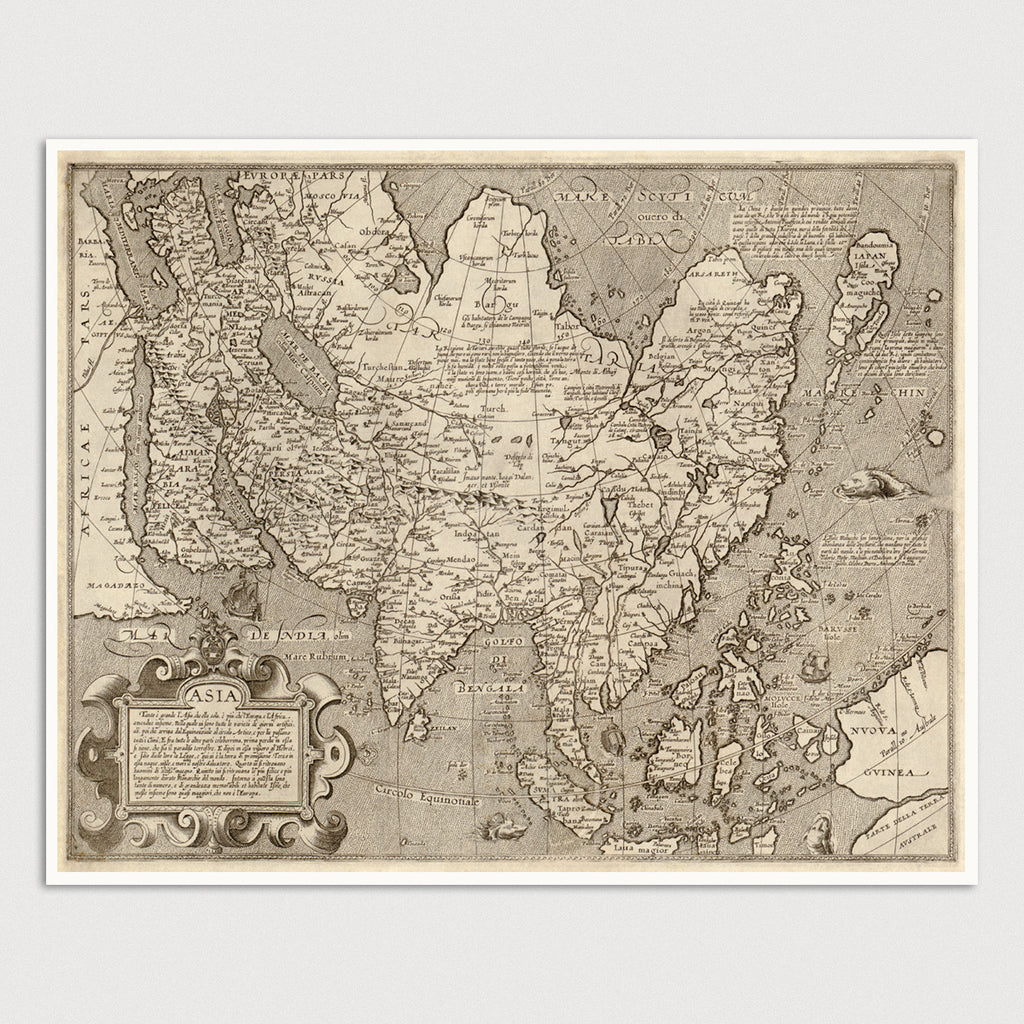 Asia Antique Map Print (c1600)