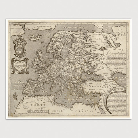 Europe Antique Map Print (c1600)