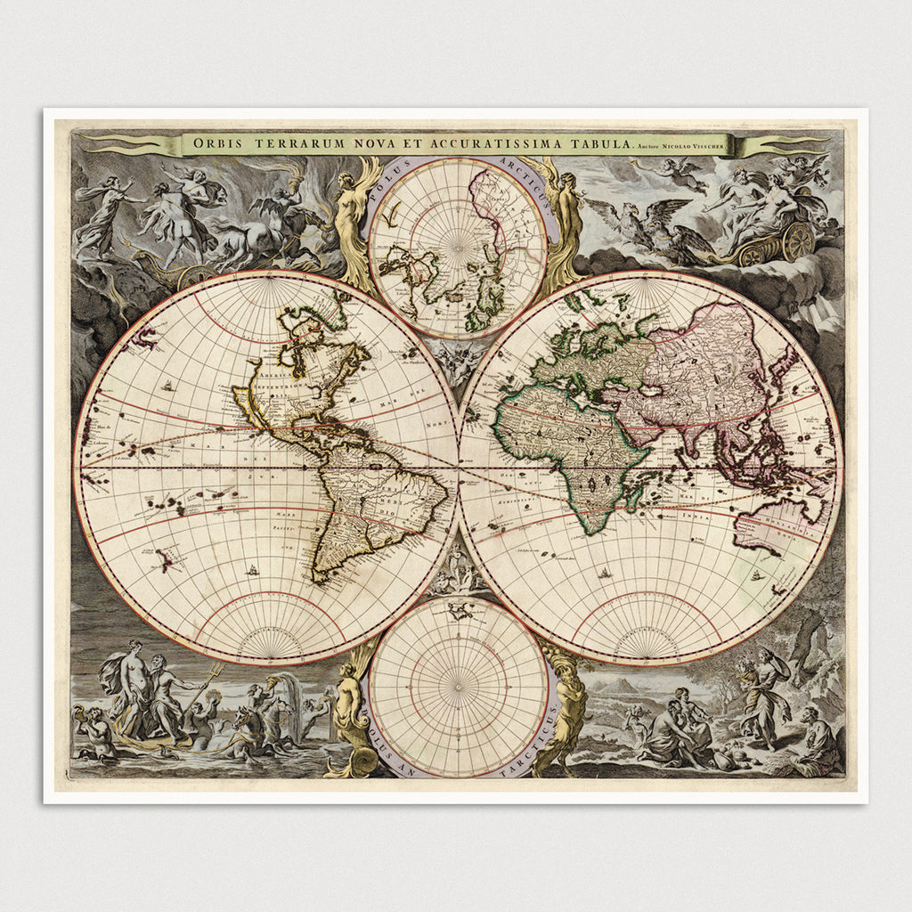 World Antique Map Print (c1690)