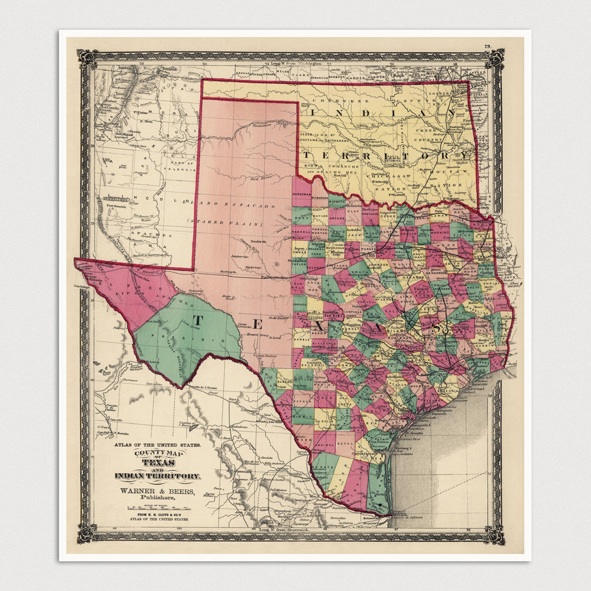 Texas And Oklahoma Antique Map Art Print 1875 Blue Monocle