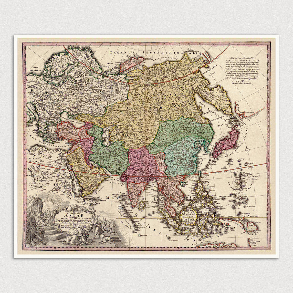Map Of Asia To Print.Asia Antique Map Art Print C1743 Blue Monocle