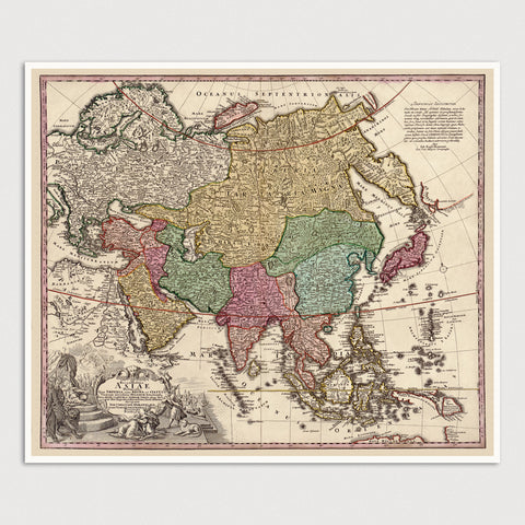 Asia Antique Map Print (c1743)