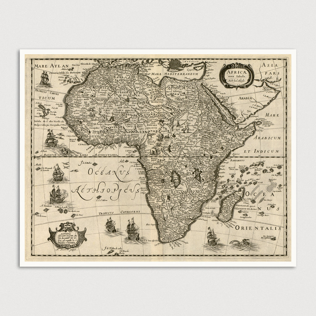 Africa Antique Map Print (c1640)