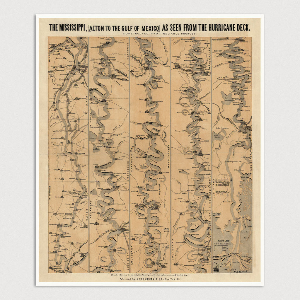 Mississippi River Antique Map Print (1861)