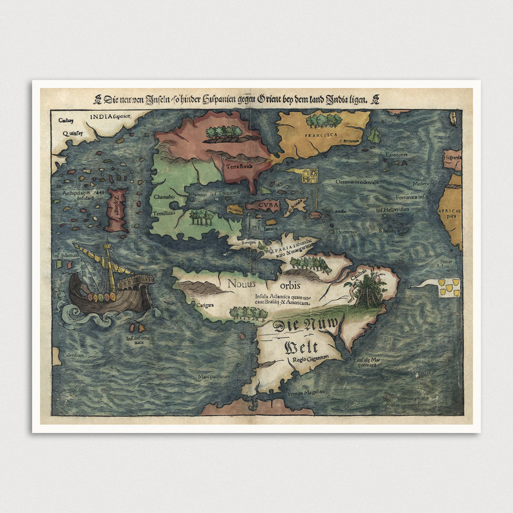 Western Hemisphere Antique Map Print (c1550)