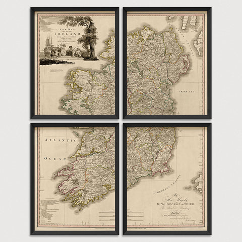 Ireland Antique Map Print Set (1797)