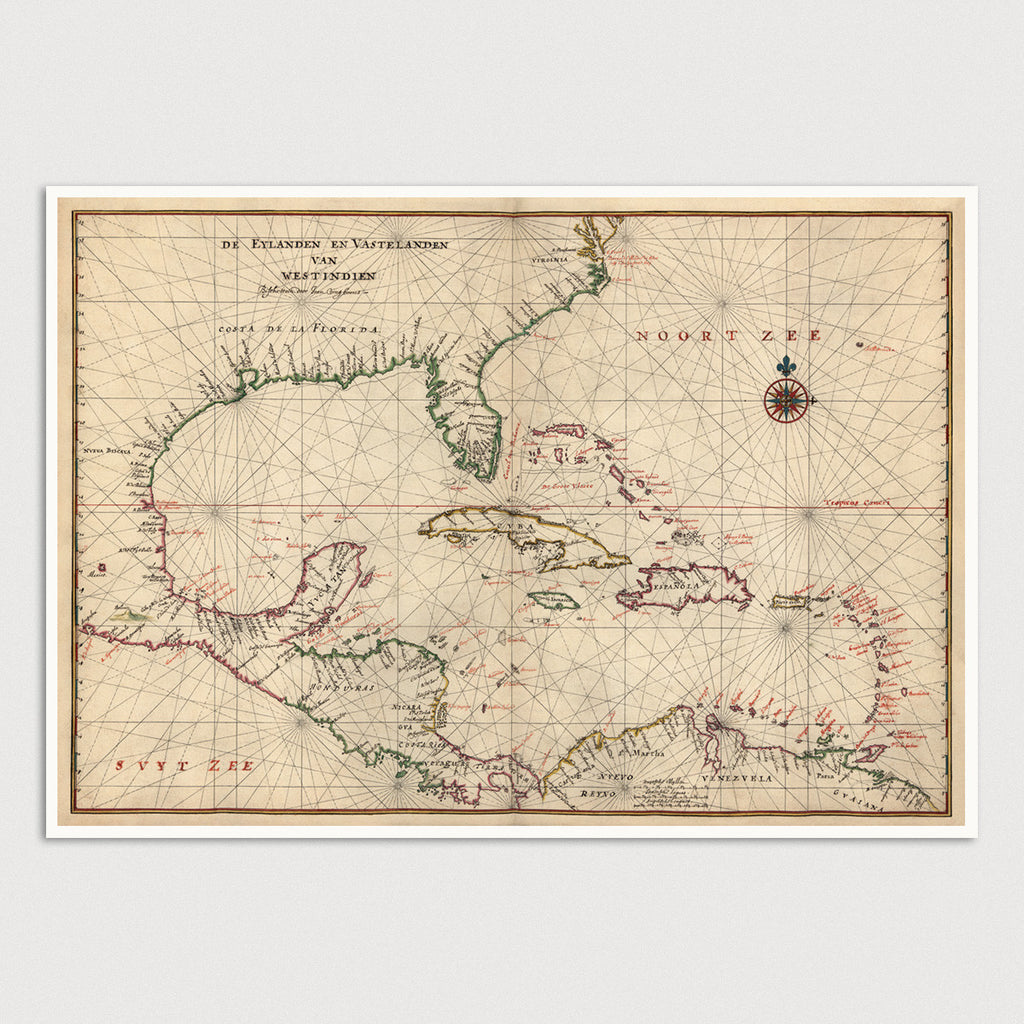 Caribbean Antique Map Print (c1639)