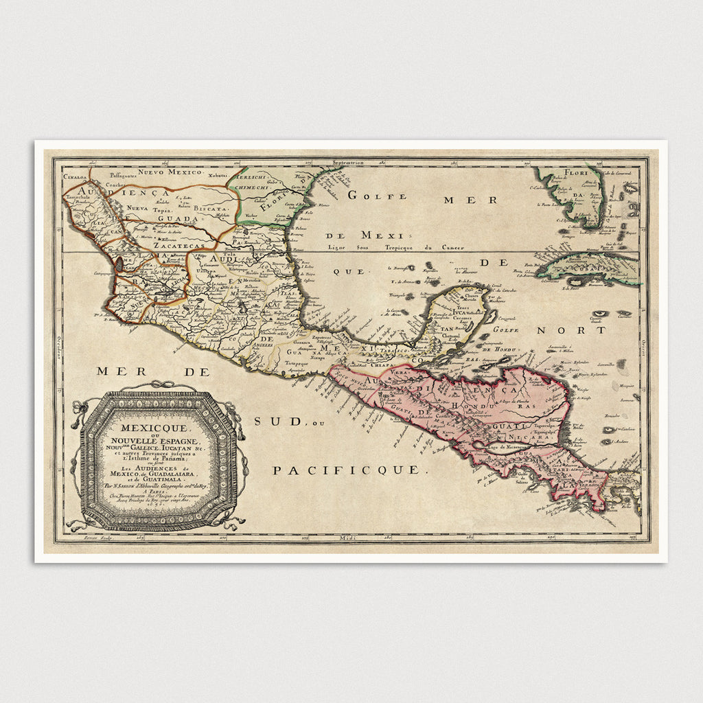 Central America and Mexico Antique Map Print (1656)