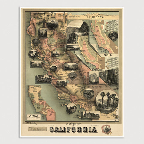 California Antique Map Print (1888)