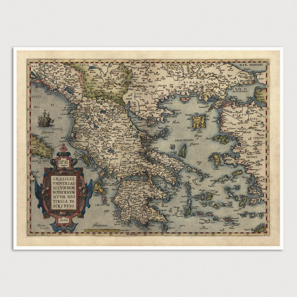 Greece Antique Map Print (1570)