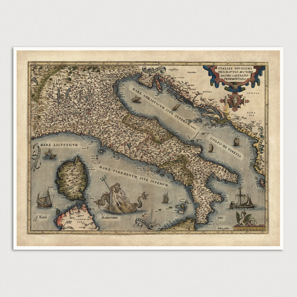 Italy Antique Map Print (1570)