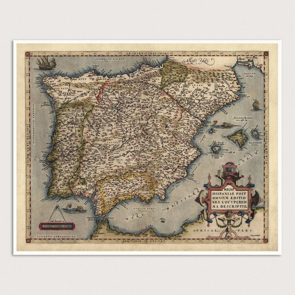 Spain and Portugal Antique Map Print (1570)