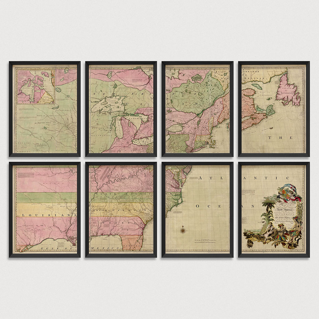 Colonial America Antique Map Print Set (1755)
