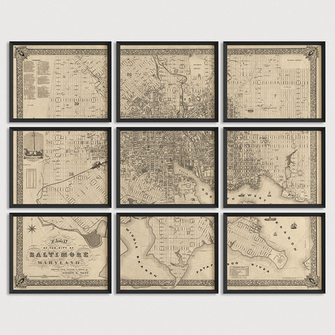 Baltimore Antique Map Print Set (1851)