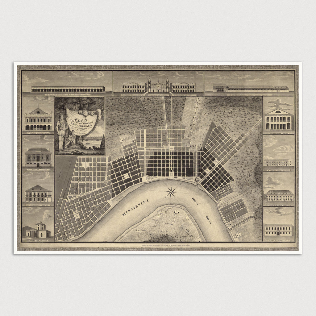 photograph relating to Printable Map of New Orleans named Clean Orleans Antique Map Print (1817) - Blue Monocle