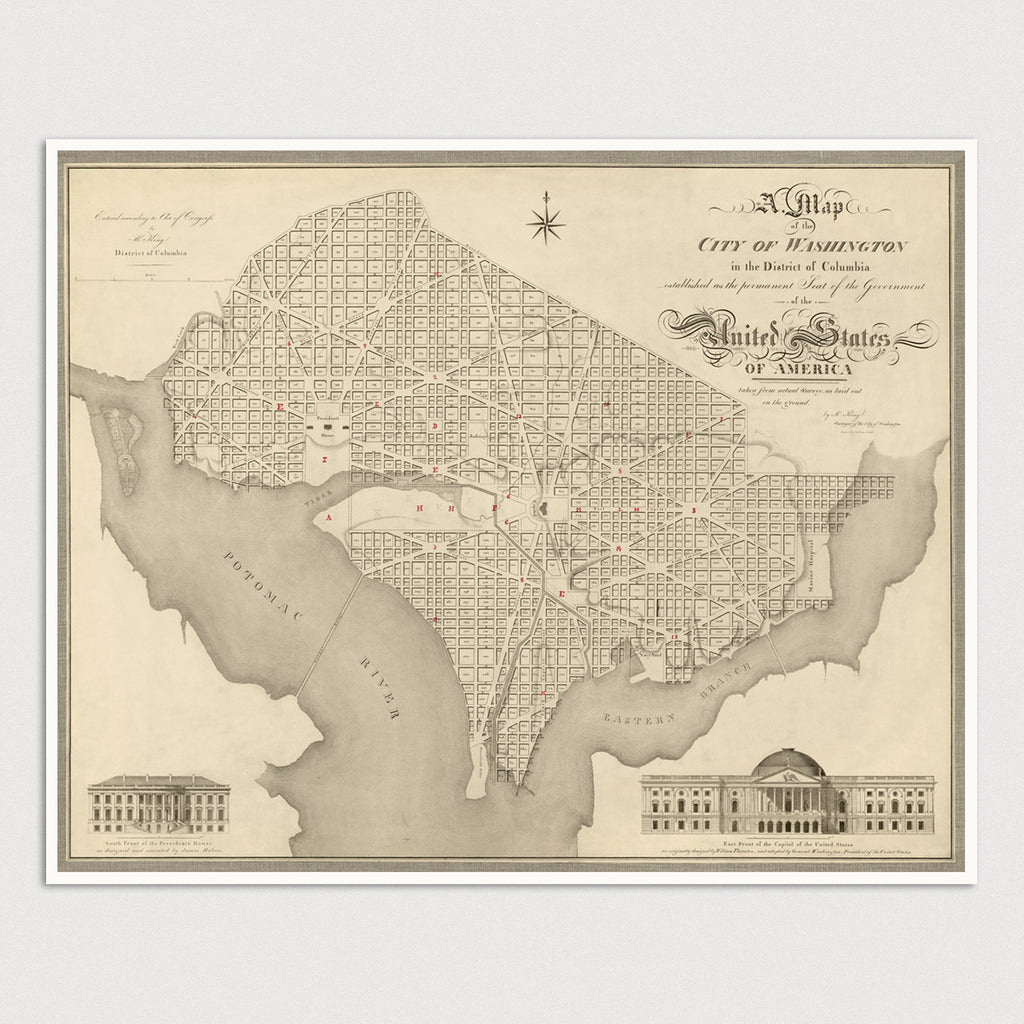 picture about Washington Dc Printable Map called Washington, DC Antique Map Print (1818) - Blue Monocle