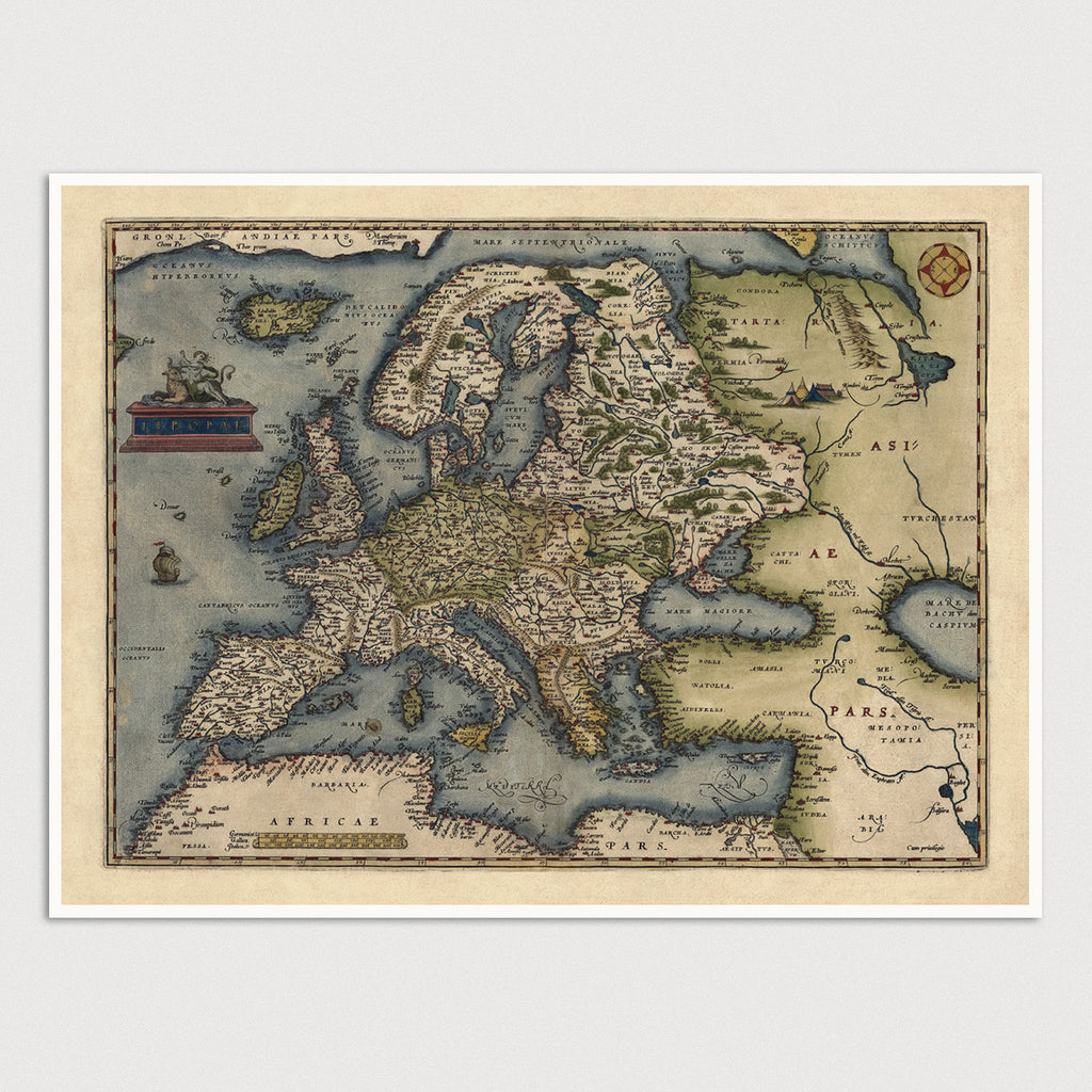 Europe Antique Map Print (1570)