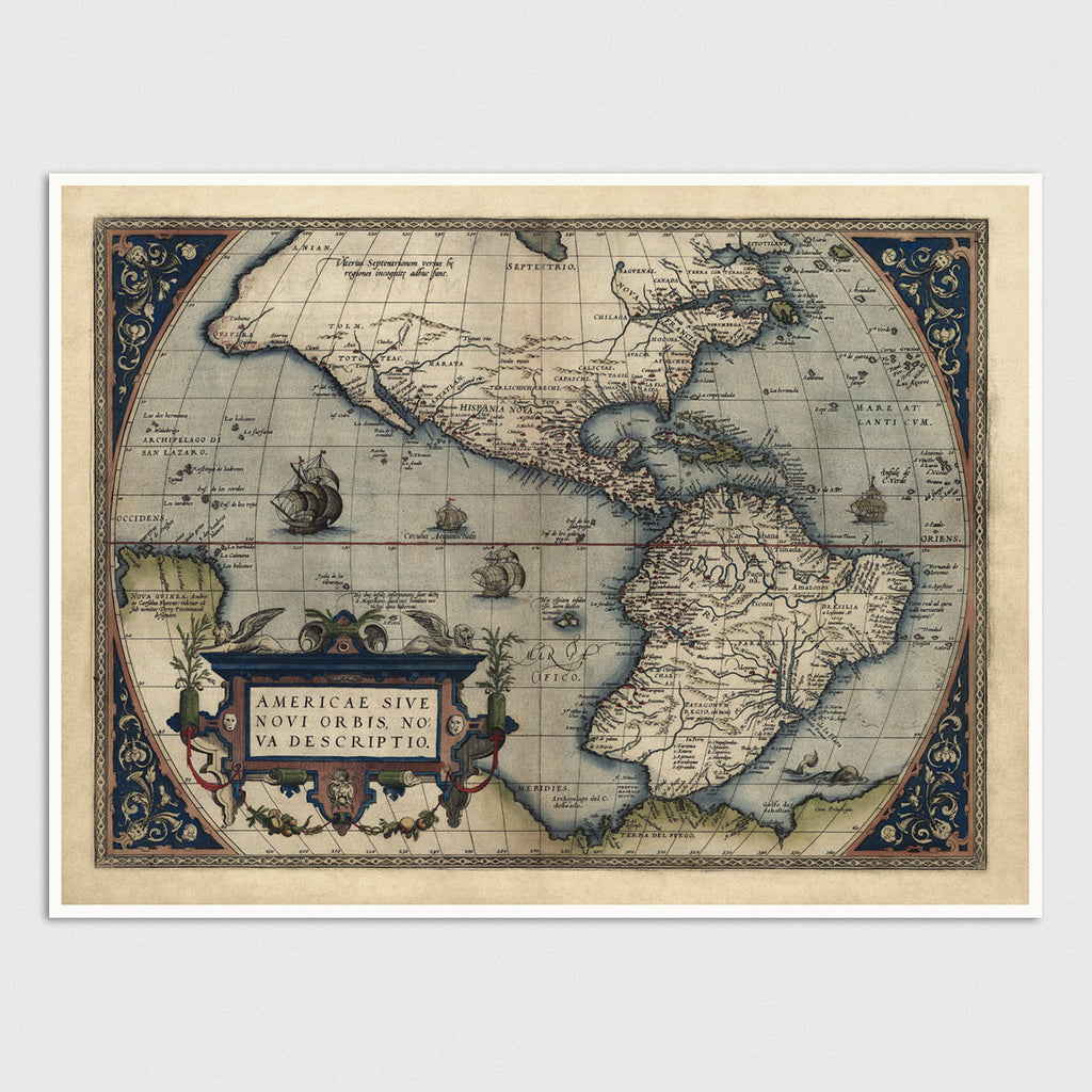 Western Hemisphere Antique Map Print (1570)